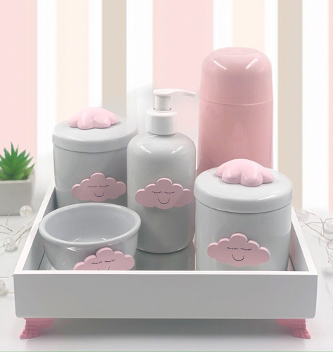 Kit Higiene Porcelana Diversos Temas Garrafa Térmica Rosa .