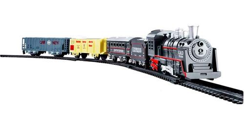 Trem Locomotiva Pista Ferrorama C Luz Som Brinquedo 4 Vagões