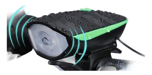 Farol Lanterna Bike Recarregável Usb C/ Buzina 140db Fy-058