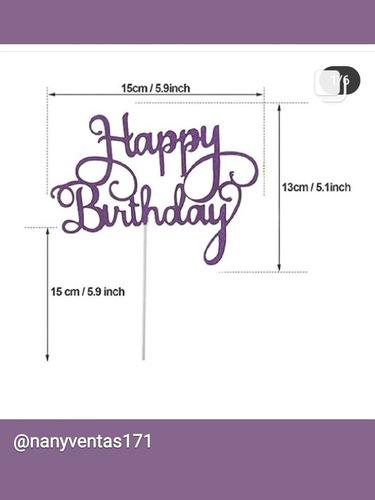 3topper Torta Cartulina Brillante Happy Birthday Feliz Cumpl