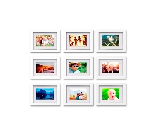 Conjunto Kit 9 Quadros Para Fotos 10x15 Com Paspatur Vidro