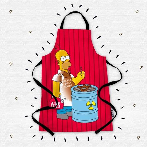 Homero Simpson Delantal Parrillero Drill Mandil Luisito Rey