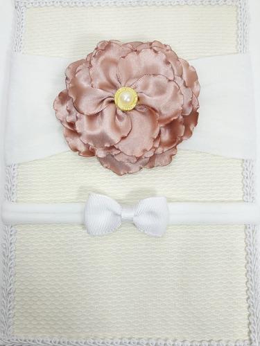 2 Faixas Tiara Cabelo Laço Para Bebê Menina De Flor
