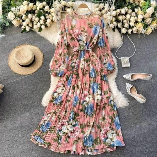 Vestido Feminino Rodado Longo Plissado Bufante Floral Cinto