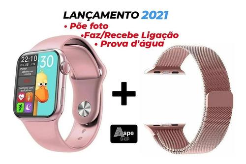Smartwatch 2021 Iwo Hw12 Relógio Rose Feminino 40mm + Brinde
