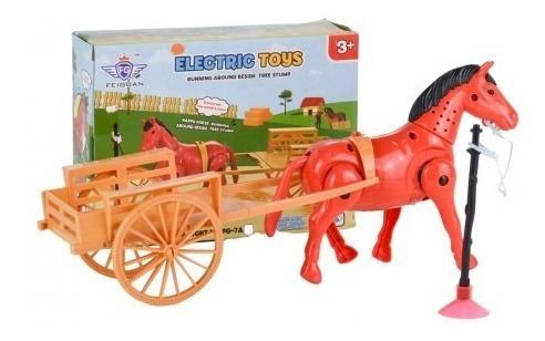 Cavalo Com Carroça De Brinquedo C/ Som Musical Anda Animal