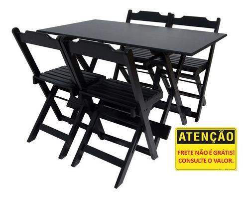 Jogo Mesas Dobraveis 120x70 Com 4 Cadeiras Para Bar