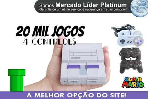 Super Nintendo 20 Mil Jogos 4 Controles Envio Full