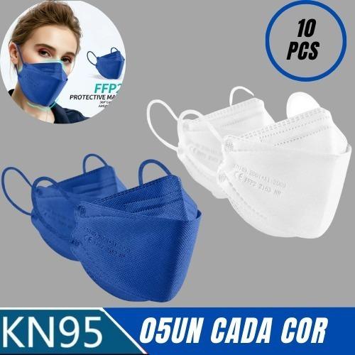 10 Máscaras Respiratória N95 Kn95 Pff2 Colors Boca Peixe 3d