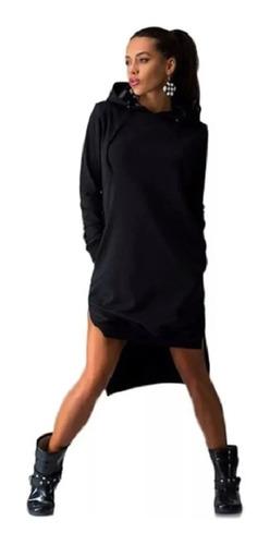 Vestido Longline Feminino Moletom Blusa Frio Manga Longa