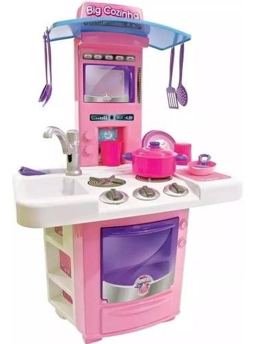 Cozinha Infantil Menina Completa Pia Fogão Agua Big Star