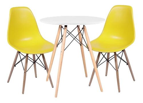 Kit Mesa De Jantar Branca Eames 70cm + 2 Cadeiras Charles