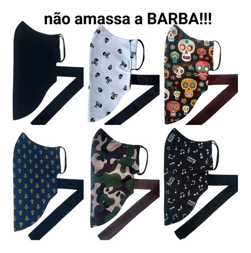 Kit 2 Máscaras Para Barbudos Não Amassa A Barba Dupla Face