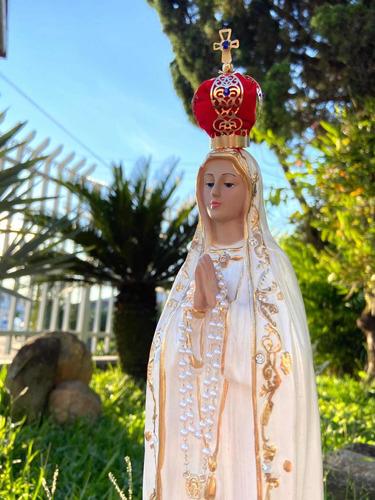 Imagem Nossa Senhora De Fátima Gesso Maciço Coroa Terço 40cm