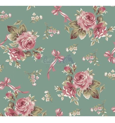 Tricoline Estampado Floral Fiore 100% Algodão 50cm X 1,50mt