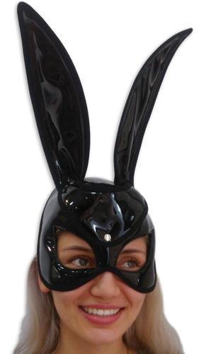Mascara Conejo Negro Brillante Cuero Sintetico