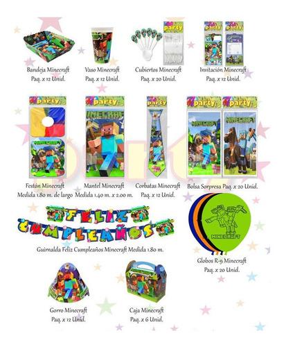 Kit Decorativo Infantil Minecraft 12 Invitados + Obsequio