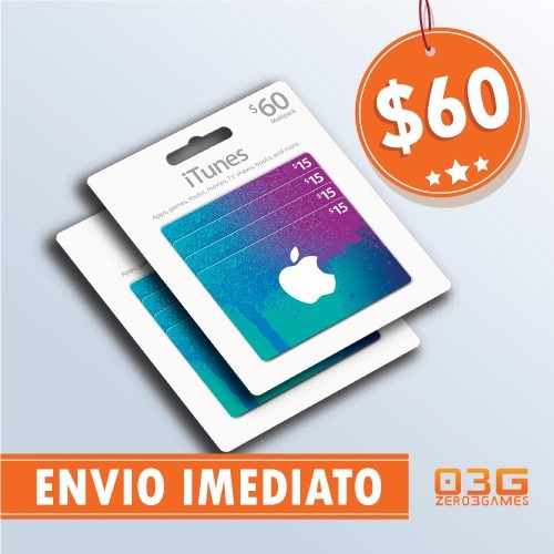Itunes Gift Card $60 Cartão iPod iPhone iPad Mac App Store