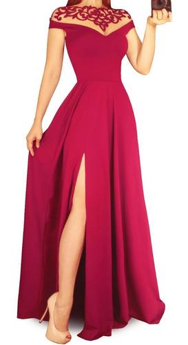 Vestido Longo De Festa, Madrinha Com Fenda Lateral 256
