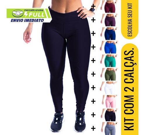 Kit 2 Calças Legging Lisa Fitness Feminina Suplex Cós Alto