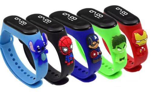 Relógio De Led Infantil Prova Dagua Com Personagens D Marvel