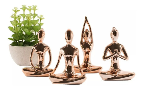 Kit C/4 Estátuas Enfeite Decorativo Posições De Yoga