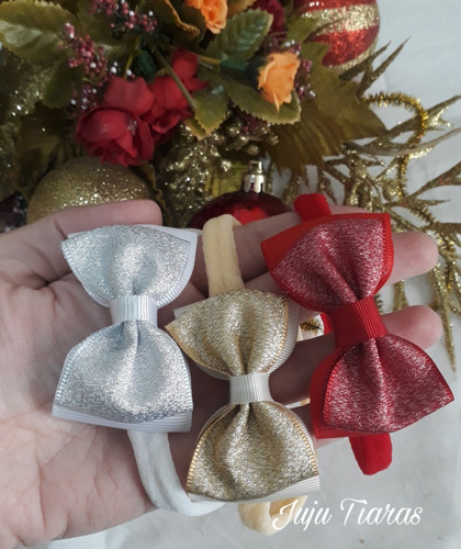 Kit 5 Faixas Cabelo Bebê Mei Seda Rn Linha Luxo Natal