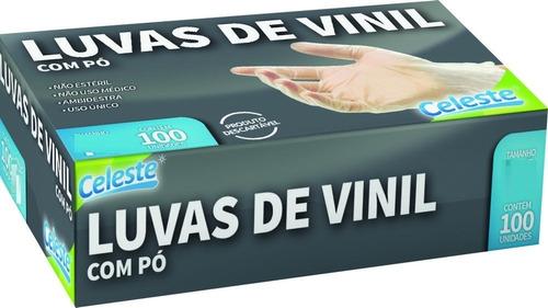 Luva Vinil Descartável  Transparente Com Pó Sem Latex Clt