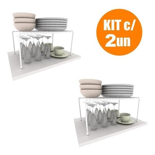 Kit Organizador Prateleira Grande 42cm 2 Unidades 100% Aço