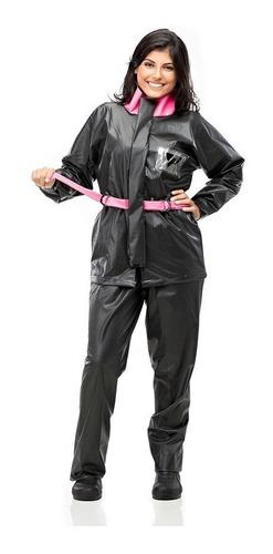 Capa De Chuva Moto Feminina Pvc Impermeável Preta E Pink