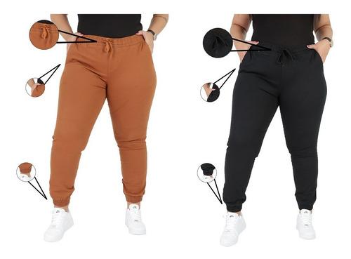 Kit 2 Calça Jeans/sarja Feminina Jogger Plus Size G1 Ao G4