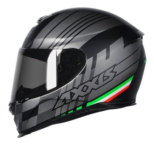 Capacete Moto Axxis Mt Eagle Italy Cinza Fosco Preto