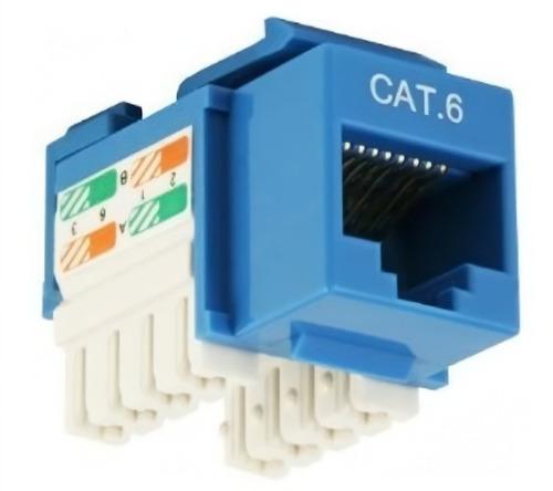 Jack Rj45 Cat 6 Amp Azul Keistone Jack Ideal Para De Datos