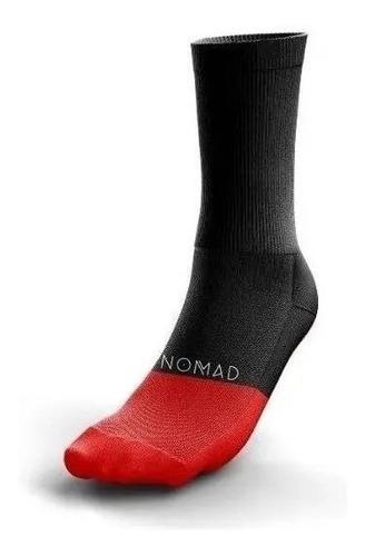 Meia Ciclismo Nomad Racing Vermelha Tecido Confortável