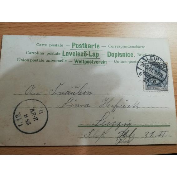 Hermosa Tarjeta Reichpost Fechada 24 Agosto 1901
