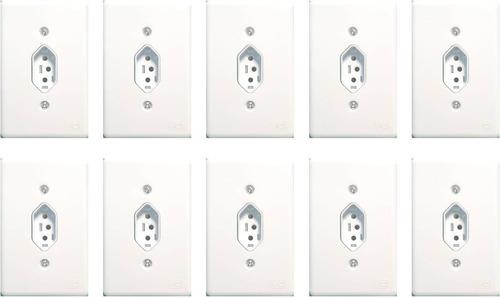 Tomada Simples 10a Com Espelho Branco 10 Unidades