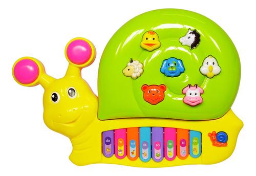 Teclado Piano Musical Infantil Divertido Com Luz Caracol