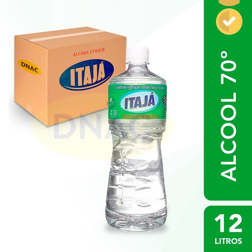 Álcool Líquido 70% 1 Litro Antisséptico - Caixa Com 12