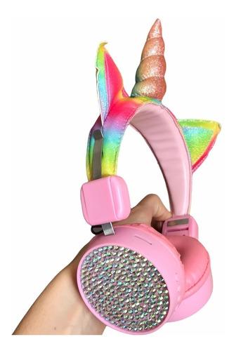 Fone De Ouvido Com Fio Unicórnio Forma Para Crianças Rosa