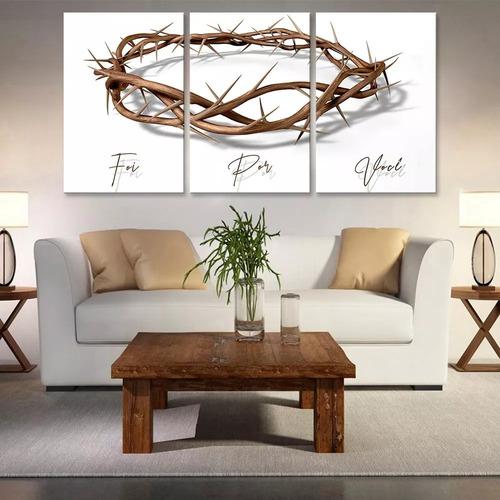 Quadro 60x120cm Coroa Espinhos Jesus Cristo Foi Por Você