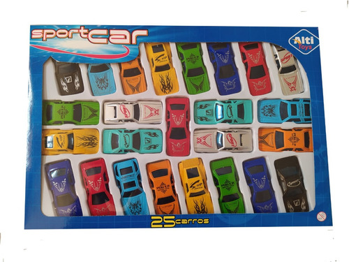 Kit Com 25 Carrinhos Coloridos Coleção Carros De Brinquedo