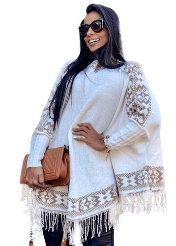 Blusa Poncho Kimono Tricot Tricô Inverno Roupas Feminina