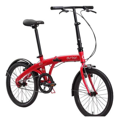 Bicicleta  Plegable Durban Eco Aro 20 1v Freios V-brakes Cor Vermelho Com Descanso Lateral