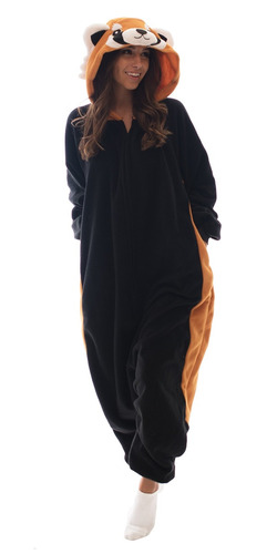 Adulto Onesie Panda Roja Animal Pijama Cómodo Traje Con Crem