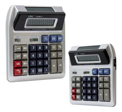 Calculadora Mesa 12 Dígitos 2 Visor Loja Bar Feira Mercado