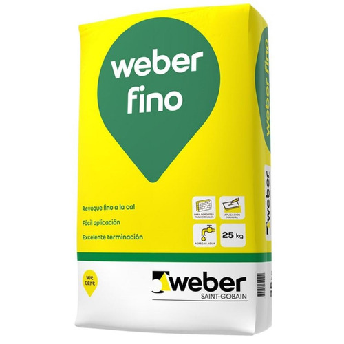 Revoque Fino A La Cal Interior Weber Fino X 25 Kg
