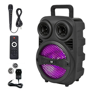 Parlante Portátil Bluetooth Usb Luces Led + Micrófono Karaoke Pendrive Mp3 Música Fuerte Batería Recargable Fiesta