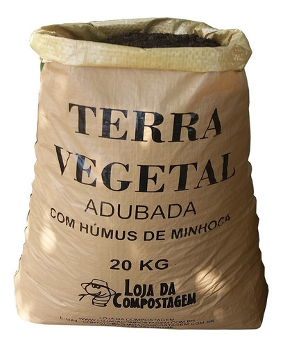 Terra Vegetal Adubada Com Húmus De Minhoca 20kg