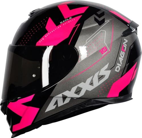 Capacete Axxis Diagon Preto Rosa Pink Feminino Lançamento