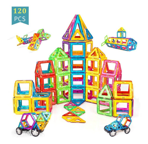 Blocos Magnéticos 68 Peças Brinquedo Educativo Infantil